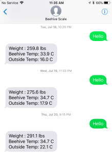 SMS texts from the hive. Notice time and weight increase.